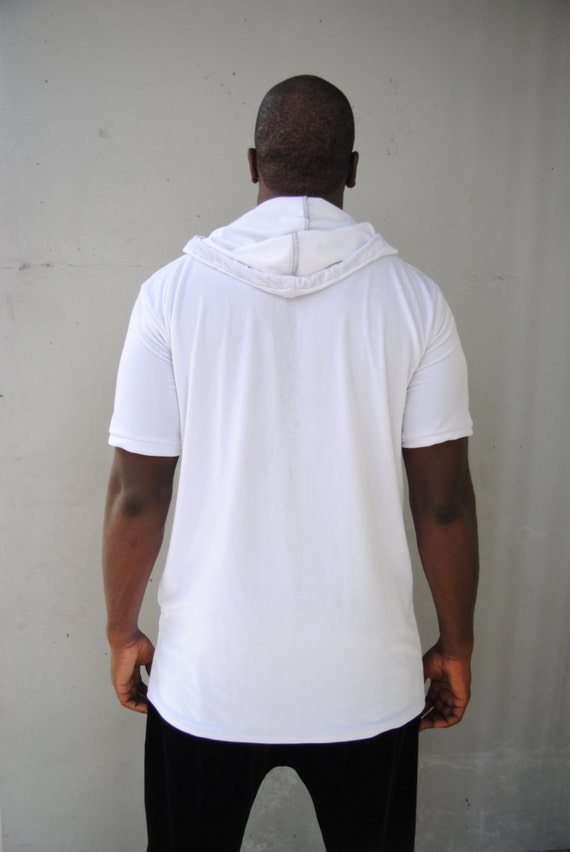 Mens White Velvet Hoodie T-shirt / Short Sleeve Hoodie / Mens