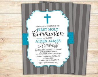 First Communion Invitation, 1st Holy Communion Invite, Baptism -- Printable Design with Free Personalization