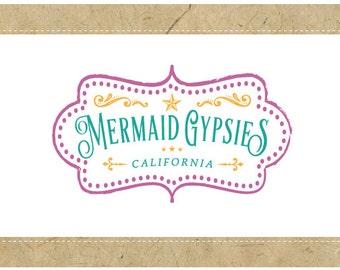 SALE Custom PreMade Logo Design - PreDesigned Logo - Custom Logo - Vector Logo Design -  MERMAID Logo - Vintage Nautical Logo - Vintage Logo