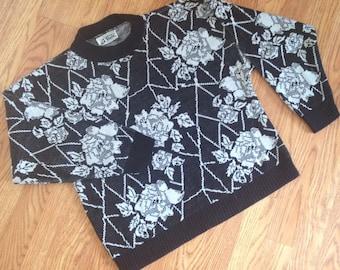 Vintage white rose sweater