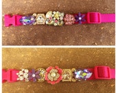 """RESERVED Small / Medium """"Dyna-mite"""" Custom Faux Diamonds Dog collar, OOAK Rhinestone Bling, Boutique, Hollywood pet, Spoiled, Jeweled"""