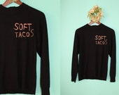 SOFT TACOS Thief Island Hand Embroidered Letters on Vintage Acrylic Black Sweater Hand Made Unisex Adults Girl Gang Power Small Medium