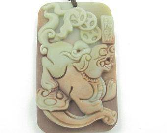 Two Layer Natural Stone Lucky Pi-Xiu Dragon Ru-Yi Amulet Pendant 45mm*27mm  ZP086