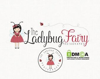 ladybug logo design girl logo design fairy logo design photography logo bespoke logo design premade logo design party boutique logo design