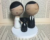 Custom Mini Kokeshi Wedding Cake Toppers Plus 1 Pet