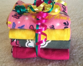 Princess Daydreams - Set of 4 Reversible Burp Cloths - Ready to Ship by PiquantDesigns