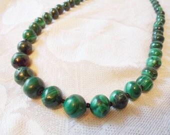 "Vintage Green Malachite Stone graduating bead 26"" Necklace"