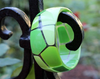 Lucite Bangle with Embedded Green Mosaic Tiles