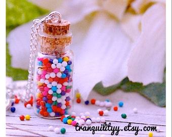 Candy Sprinkle Bottle Necklace ,Super Sweet Sprinkle Glass Vial .05ml , 1ml or 2ml Bottle Necklace By: Tranquilityy