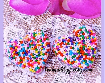 Candy Sprinkle Heart Earrings, I Want Real Candy Sprinkles Heart Resin Earrings, Kawaii, Scene , By: Tranquilityy