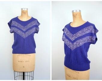 vintage 80s {ramie, silk & angora} sparkle sweater - cobalt blue  / New Wave - silver lurex / 80s punk - glam rock - kawaii