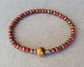 "Red Jasper and Tigers Eye fine faceted ""grounding and prosperity"" bracelet"