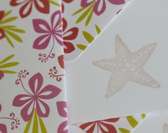 Set of 3 Stationery - Tropical Hawaiian Flowers with hot pink and lime green, Oceanic, Beach, Sand, Sun - Starfish