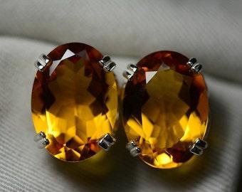 Citrine Earrings, Certified 20.02 Carat Citrine Stud Earrings Appraised at 1,050.00, November Birthstone, Sterling Silver Citrine Jewellery