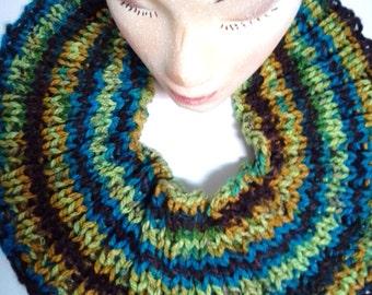 Knit Scarf, Knit Cowl Neck Scarf, Multicolored Scarf, Neckwarmer