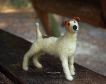 Needle felted dog sculpture. Parson russel terrier.