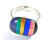 """Dichroic Adjustable Ring - Oval Rainbow Stripes Fused Glass - Blue Purple Green Orange Pink Emerald Copper Multicolored Lines Striped 1/2"""""""