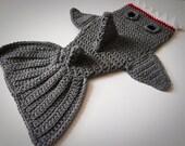 Newborn, 3 mo, 6 mo, 12 mo Shark Costume Photo Prop Tail