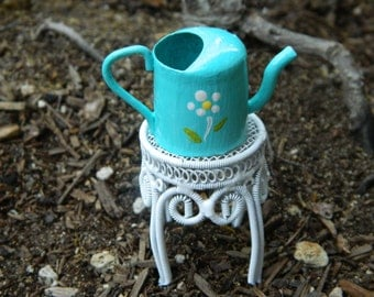Fairy Garden Miniature Watering Can Hand Painted Robins egg blue with a daisy flower Miniature Accessories