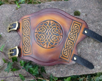 Celtic Knotwork Tooled Leather Archery Armguard Bracer Reenactment Larp