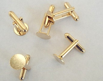 NEW 24 Gold Plated Cuff Links with Glue Pad  10mm