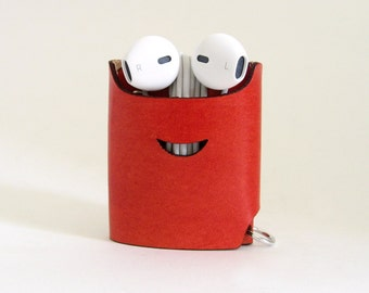 Smiling Earphone Case - Red - The Case with a Face - Leather Earphone Case / Earpod Case / Earphone Wrap / Earbud Organizer