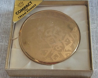 Vintage Compact Gold Abstract Design New in Box