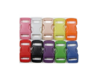 "25 Safety Breakaway Pull-Apart Buckles, 3/8"" (10mm) Ten Colors to Choose From. Contoured, Side-Release, Plastic. Perfect for Cat Collars."