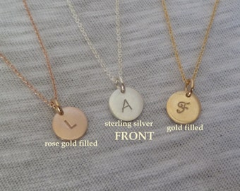Initial Necklace - Date on Back - Double Sided - Tiny Initial Disc - Sterling Silver or Gold Filled or Rose Gold Filled - Mother Grandmother