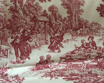 Toile upholstery drapery fabric 3 1/2 yds