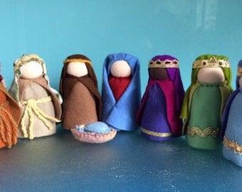 diy kit nativity scenemake it yourself waldorf nativity setmary and joseph - Wooden Nativity Set