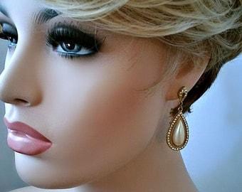 Vintage Pierced Earrings - tear drop dangle faux pearl with quality rhinestones - diamond shaped rhinestone design at top - wedding earrings