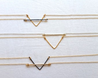 Bar Necklace, Gold, Rose Gold, Black, or Silver