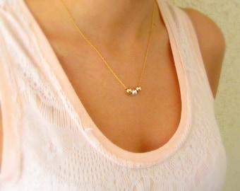 Gold necklace, Dainty necklace, Minimalist necklace, Gold and silver necklace, Gold beaded necklace, Layered necklace, Boho necklace