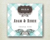 Gingham Wedding Labels// Kaitlin Design // Personalized Label // Favor Box Label // Rustic Wedding Favor Label