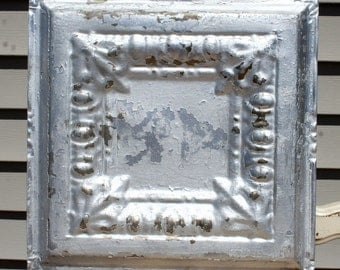 "Genuine Antique Ceiling Tile -- 12"" x 12"" -- Distressed Silver Colored Paint -- Egg and Dart Design"
