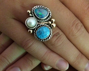 turquoise ring, boulder opal ring and pearl ring sterling and 14k gold ring