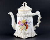 1900's Wheeling Pottery Bone China Floral Decorated Chocolate Pot 12625