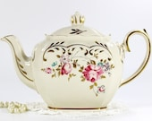 Sadler Cube Teapot, 1930s Sadler Full Sized Tea Pot, English Porcelain 12674