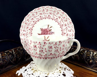 Teacup Tea Cup and Saucer - Shabby Johnson Bro  Rose Bouquet  Pink Chintz 10825
