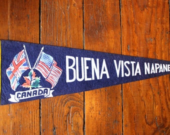 Oh Canada...Vintage Buena Vista Napanee Canada Felt Pennant, Travel Pennant, Souvenir Pennant