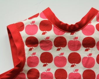 Freshly Picked. Pink and Red Apples on White Baby Bib/Apron or Bapron. Ready to Ship in Size 6 mo -18 mo. Shower Gift. New Baby. Baby Gif