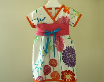 Bright and Fun Floral Kimono Dress Ready to Ship in Size 4T. Hot Pink Obi Sash. Twirl Skirt. Asian Inspired
