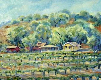Lincourt Winery And Vineyards Santa Barbara Print On Silvered Paper