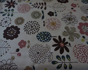 Mod Floral, Cosmo fabrics 1/2 yd Canvas