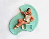 1954-5 Harlequin Wall Plaque by Universal Statuary, Chicago / turquoise / girl / mask / boomerang / chalkware
