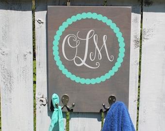 """12"""" X 16"""" Custom Kids Monogram Organization - Coat rack - Towel hook - Bathroom rack - Backpack hook"""