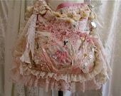 Shabby Cottage Bag, romantic feminine girly pink shabby n chic, white pink lace doilies embellished, slouchy long strap