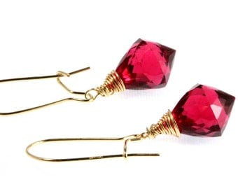 Hot Pink Quartz Briolette Earrings - Dangle Earrings - Gold Filled - Wrapped Briolettes - Minimalist - Modern