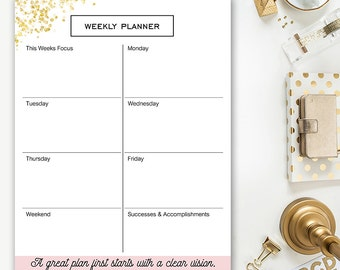 Printable Weekly Planner - Pink & Gold - Agenda - Sparkle Collection From Designing Miracles